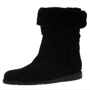 SALVATORE FERRAGAMO Suede Shearling My Ease Boots
